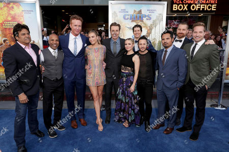 "Producer Ravi D. Mehta, Jess Rowland, Jessica McNamee, Director/Writer/Producer/Actor Dax Shepard, Kristen Bell, Executive Producer Nate Tuck, Producer Andrew Panay, Michael Pena, Charlie Curtis and Ryan Hansen seen at Warner Bros. Pictures Los Angeles Premiere of ""CHIPS"" at TCL Chinese Theatre, in Los Angeles"