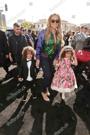 """Moroccan Scott Cannon, Mariah Carey and Monroe Cannon seen at Warner Bros. Pictures Presents the World Premiere of """"The Lego Batman Movie"""" at Regency Village Theatre, in Los Angeles"""
