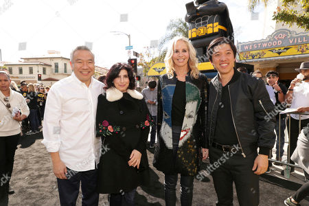 """Kevin Tsujihara, Chairman and CEO of Warner Bros., Sue Kroll, President of Worldwide Marketing and International Distribution for Warner Bros. Pictures, Diane Nelson, President of DC Entertainment and President of Warner Bros. Consumer Products, and Producer Dan Lin seen at Warner Bros. Pictures Presents the World Premiere of """"The Lego Batman Movie"""" at Regency Village Theatre, in Los Angeles"""