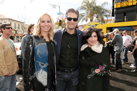 """Diane Nelson, President of DC Entertainment and President of Warner Bros. Consumer Products, LEGO Brick Artist Nathan Sawaya and Sue Kroll, President of Worldwide Marketing and International Distribution for Warner Bros. Pictures, seen at Warner Bros. Pictures Presents the World Premiere of """"The Lego Batman Movie"""" at Regency Village Theatre, in Los Angeles"""