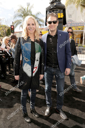 """Diane Nelson, President of DC Entertainment and President of Warner Bros. Consumer Products, and LEGO Brick Artist Nathan Sawaya seen at Warner Bros. Pictures Presents the World Premiere of """"The Lego Batman Movie"""" at Regency Village Theatre, in Los Angeles"""