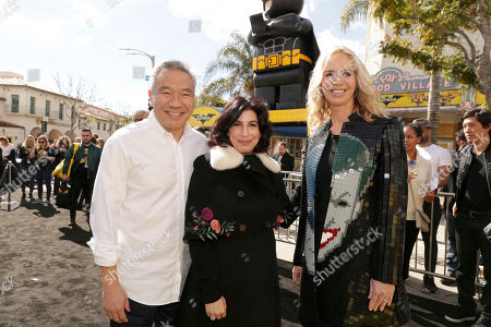 """Kevin Tsujihara, Chairman and CEO of Warner Bros., Sue Kroll, President of Worldwide Marketing and International Distribution for Warner Bros. Pictures, and Diane Nelson, President of DC Entertainment and President of Warner Bros. Consumer Products, seen at Warner Bros. Pictures Presents the World Premiere of """"The Lego Batman Movie"""" at Regency Village Theatre, in Los Angeles"""