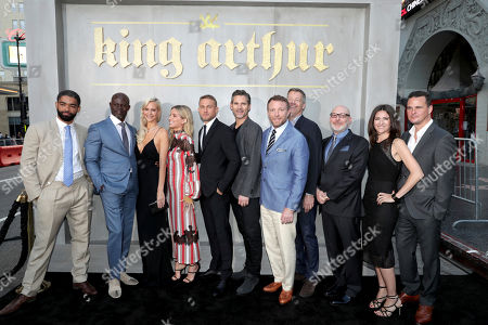 "Kingsley Ben-Adir, Djimon Hounsou, Poppy Delevingne, Annabelle Wallis, Charlie Hunnam, Eric Bana, Director/Writer/Producer Guy Ritchie, Writer/Producer Lionel Wigram, Producer Akiva Goldsman, Producer Tory Tunnell and Writer/Producer Joby Harold seen at Warner Bros. World Premiere of ""King Arthur: Legend of the Sword"" at TCL Chinese Theatre, in Hollywood, CA"