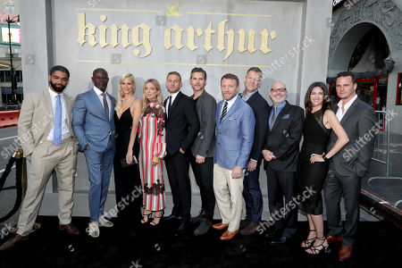 "Stock Image of Kingsley Ben-Adir, Djimon Hounsou, Poppy Delevingne, Annabelle Wallis, Charlie Hunnam, Eric Bana, Director/Writer/Producer Guy Ritchie, Writer/Producer Lionel Wigram, Producer Akiva Goldsman, Producer Tory Tunnell and Writer/Producer Joby Harold seen at Warner Bros. World Premiere of ""King Arthur: Legend of the Sword"" at TCL Chinese Theatre, in Hollywood, CA"