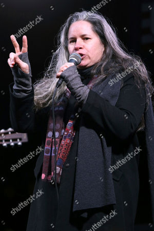 """Natalie Merchant participates in the """"We Stand United: New York Rally to Protect Shared Values"""" on Thursday, Jan.19, 2017, in New York"""