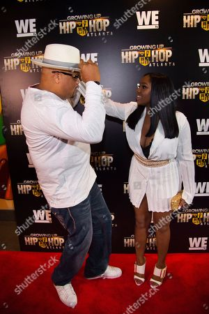 """Stock Image of DJ Hurricane, left, and Ayana Fite attend WE TV's """"Growing Up Hip Hop Atlanta"""" premiere screening at iPics Theaters, in New York"""