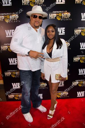"""DJ Hurricane, left, and Ayana Fite attend WE TV's """"Growing Up Hip Hop Atlanta"""" premiere screening at iPic Theaters, in New York"""
