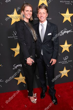 Colleen Bell, left, and Bradley Bell arrive at the Wolfgang Puck's Post-Hollywood Walk of Fame Star Ceremony Celebration at Spago, in Beverly Hills, CA