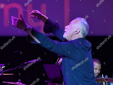 Composer John Debney conducts the score from Santa Clarita Diet during WORDS + MUSIC, presented at the Television Academy's Wolf Theatre at the Saban Media Center in North Hollywood, Calif