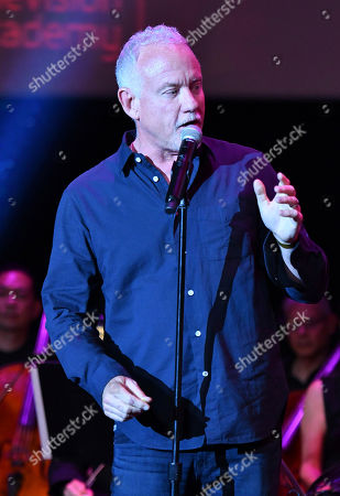 Composer John Debney speaks on stage during WORDS + MUSIC, presented at the Television Academy's Wolf Theatre at the Saban Media Center in North Hollywood, Calif