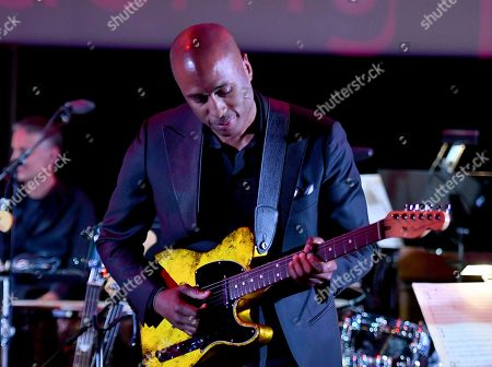 Composer Ali Shaheed Muhammad performs the score from Luke Cage during WORDS + MUSIC, presented at the Television Academy's Wolf Theatre at the Saban Media Center in North Hollywood, Calif