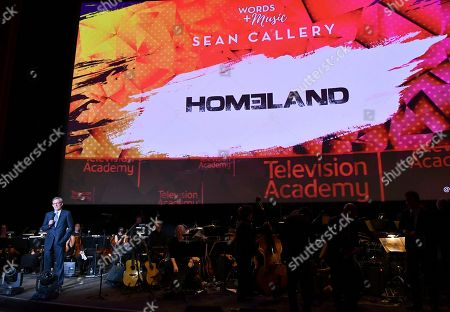 Alex Gansa speaks on stage during WORDS + MUSIC, presented at the Television Academy's Wolf Theatre at the Saban Media Center in North Hollywood, Calif