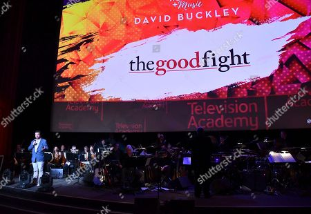 Composer David Buckley speaks on stage during WORDS + MUSIC, presented at the Television Academy's Wolf Theatre at the Saban Media Center in North Hollywood, Calif