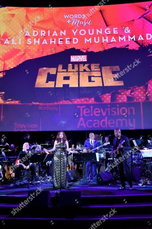 Brooke deRosa, from left, Rickey Minor, and composer Ali Shaheed Muhammad perform the score from Luke Cage during WORDS + MUSIC, presented at the Television Academy's Wolf Theatre at the Saban Media Center in North Hollywood, Calif