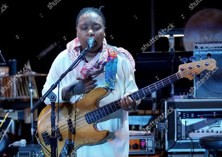 Composer Meshell Ndegeocello performs the score from Queen Sugar during WORDS + MUSIC, presented at the Television Academy's Wolf Theatre at the Saban Media Center in North Hollywood, Calif