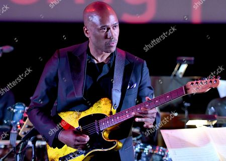 Stock Photo of Composer Ali Shaheed Muhammad performs the score from Luke Cage during WORDS + MUSIC, presented at the Television Academy's Wolf Theatre at the Saban Media Center in North Hollywood, Calif