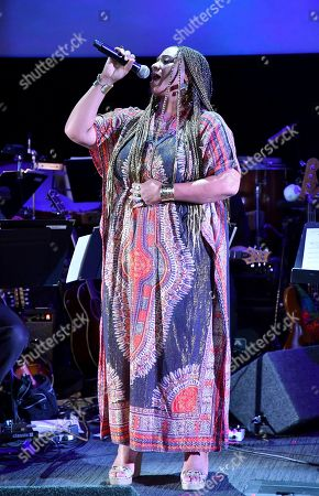 Taura Stinson performs from the score from Underground, composed by Laura Karpman and Raphael Saadiq, during WORDS + MUSIC, presented at the Television Academy's Wolf Theatre at the Saban Media Center in North Hollywood, Calif