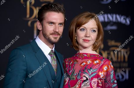 Dan Stevens, left, and Susie Stevens arrive at the world premiere of 'Beauty and the Beast' at the El Capitan Theatre, in Los Angeles