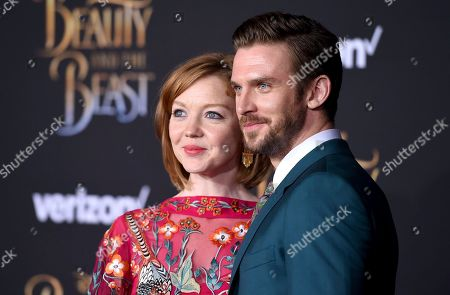 "Susie Stevens, left, and Dan Stevens arrive at the world premiere of ""Beauty and the Beast"" at the El Capitan Theatre, in Los Angeles"
