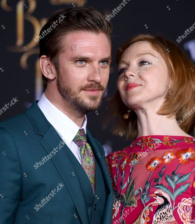 "Dan Stevens, left, and Susie Stevens arrive at the world premiere of ""Beauty and the Beast"" at the El Capitan Theatre, in Los Angeles"