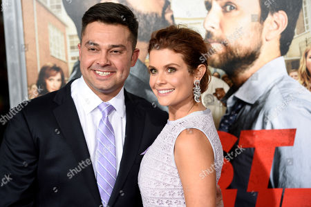"""JoAnna Garcia Swisher, right, a cast member in """"Fist Fight,"""" poses with her husband, professional baseball player Nick Swisher, at the premiere of the film, in Los Angeles"""