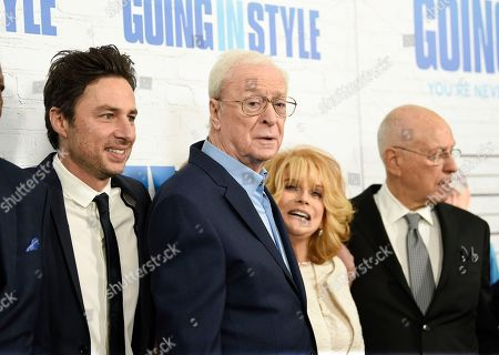 "Director Zach Braff, left, Michael Caine, Ann-Margaret, Alan Arkin and producer Donald De Line attend the world premiere of ""Going in Style"" at the SVA Theatre, in New York"