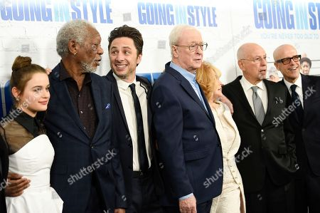"Actors, from left, Joey King, Morgan Freeman, director Zach Braff, Michael Caine, Ann-Margaret, Alan Arkin and producer Donald De Line attend the world premiere of ""Going in Style"" at the SVA Theatre, in New York"