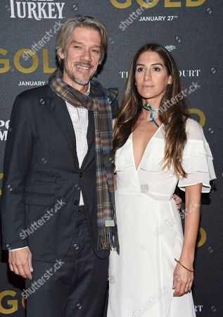 """Director Stephen Gaghan and wife Minnie Mortimer attend the world premiere of """"Gold"""" at AMC Loews Lincoln Square, in New York"""