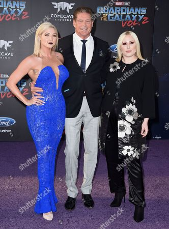 """David Hasselhoff, center, and his daughters, left, Taylor Ann Hasselhoff and Hayley Hasselhoff arrive at the world premiere of """"Guardians of the Galaxy Vol. 2"""" at the Dolby Theatre, in Los Angeles"""