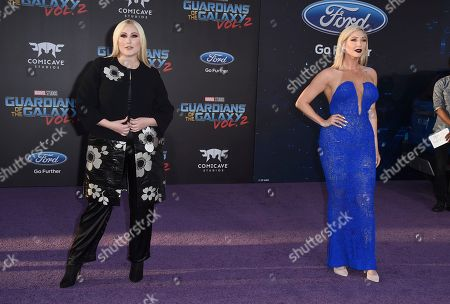 """Hayley Hasselhoff, left, and Taylor Ann Hasselhoff arrive at the world premiere of """"Guardians of the Galaxy Vol. 2"""" at the Dolby Theatre, in Los Angeles"""