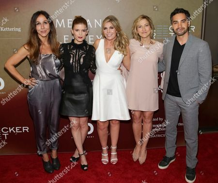 """Director Gabriela Cowperthwaite, from left, Actress Kate Mara, Retired U.S. Marine Corp. Megan Leavey, Actress Edie Falco and Actor Ramon Rodriguez attend the world premiere of """"Megan Leavey"""" at Yankee Stadium, in New York"""