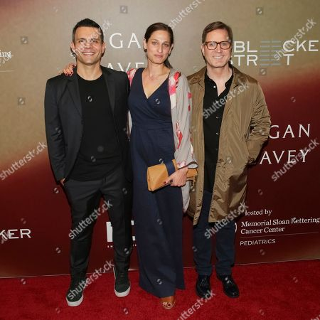 """Producers Pete Shilaimon, from left, Jennifer Monroe and Mickey Liddell attend the world premiere of """"Megan Leavey"""" at Yankee Stadium, in New York"""
