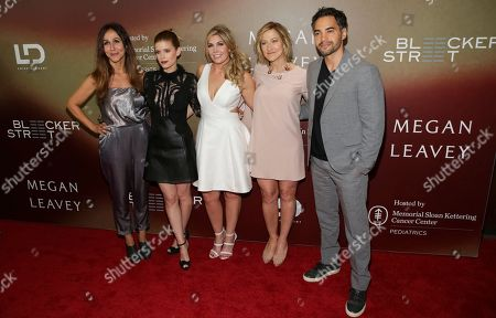 """Director Gabriela Cowperthwaite, from left, Actress Kate Mara, Retired U.S. Marine Corporal Megan Leavey, Actress Edie Falco and Actor Ramon Rodriguez attend the world premiere of """"Megan Leavey"""" at Yankee Stadium, in New York"""
