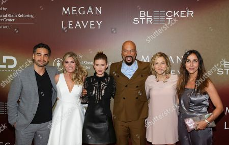 """Actor Ramon Rodriguez, from left, Retired U.S. Marine Corp. Megan Leavey, Actress Kate Mara, Musician/Actor Common, Actress Edie Falco and Director Gabriela Cowperthwaite attend the world premiere of """"Megan Leavey"""" at Yankee Stadium, in New York"""