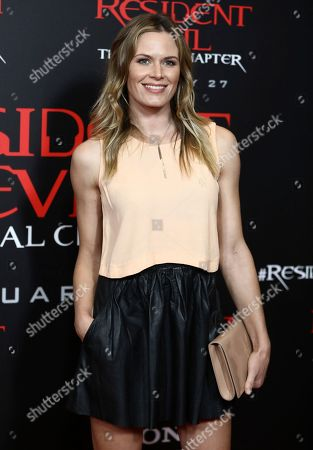 """Lauren Shaw arrives at the world premiere of """"Resident Evil: The Final Chapter"""" at Regal L.A. Live, in Los Angeles"""
