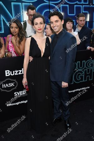 """Director Lucia Aniello, left, and actor Paul Downs attend the world premiere of Columbia Pictures' """"Rough Night"""" at AMC Loews Lincoln Square, in New York"""