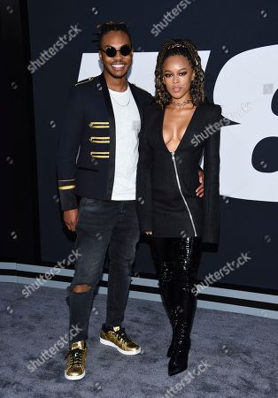 """Ohana Bam, left, and Serayah McNeill attend the world premiere of Universal Pictures' """"The Fate of the Furious"""" at Radio City Music Hall, in New York"""