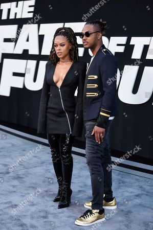 """Stock Image of Serayah McNeill, left, and Ohana Bam attend the world premiere of Universal Pictures' """"The Fate of the Furious"""" at Radio City Music Hall, in New York"""