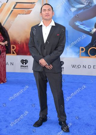 """Stock Picture of Eugene Brave Rock arrives at the world premiere of """"Wonder Woman"""" at the Pantages Theatre, in Los Angeles"""