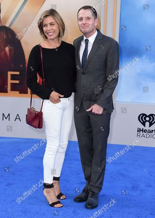 """Stock Image of Sonya Walger, left, and Allan Heinberg arrive at the world premiere of """"Wonder Woman"""" at the Pantages Theatre, in Los Angeles"""