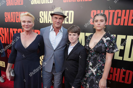 """Sherman Williams, Christopher Meloni, Dante Amadeo Meloni and Sophia Eva Pietra Meloni seen at World Premiere of Twentieth Century Fox """"Snatched"""" at Regency Village Theatre, in Los Angeles"""