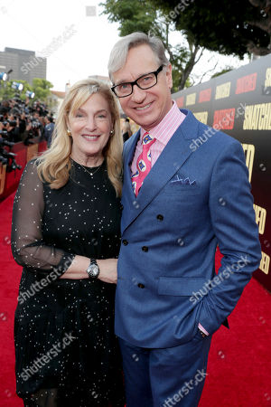 """Laurie Karon and Producer Paul Feig seen at World Premiere of Twentieth Century Fox """"Snatched"""" at Regency Village Theatre, in Los Angeles"""