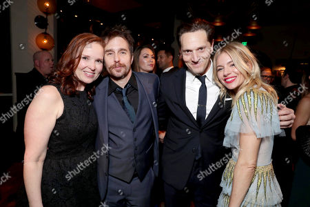 """Exclusive - Producer Jennifer Todd, Sam Rockwell, Matt Ross and Sienna Miller seen at the World Premiere of Warner Bros. """"Live by Night"""" after party at TCL Chinese Theater, in Los Angeles"""