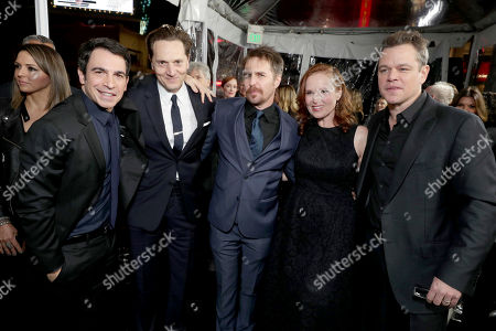 """Chris Messina, Matt Ross, Sam Rockwell, Producer Jennifer Todd and Matt Damon seen at the World Premiere of Warner Bros. """"Live by Night"""" at TCL Chinese Theater, in Los Angeles"""