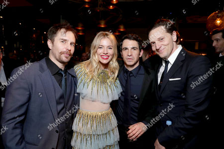 """Exclusive - Sam Rockwell, Sienna Miller, Chris Messina and Matt Ross seen at the World Premiere of Warner Bros. """"Live by Night"""" after party at TCL Chinese Theater, in Los Angeles"""