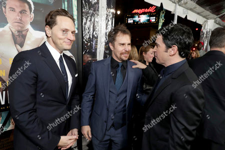 """Matt Ross, Sam Rockwell and Chris Messina seen at the World Premiere of Warner Bros. """"Live by Night"""" at TCL Chinese Theater, in Los Angeles"""