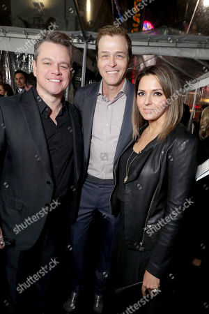 "Matt Damon, WME's Patrick Whitesell and Luciana Barroso seen at the World Premiere of Warner Bros. ""Live by Night"" at TCL Chinese Theater, in Los Angeles"