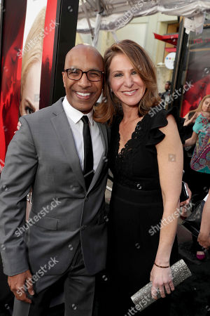 "Producer Alison Greenspan and Producer Ravi D. Mehta seen at Los Angeles World Premiere of Warner Bros. Pictures' ""Unforgettable"" at TCL Chinese Theatre, in Los Angeles"