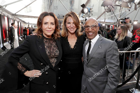 "Stock Picture of Director/Producer Denise Di Novi, Producer Alison Greenspan and Producer Ravi D. Mehta seen at Los Angeles World Premiere of Warner Bros. Pictures' ""Unforgettable"" at TCL Chinese Theatre, in Los Angeles"