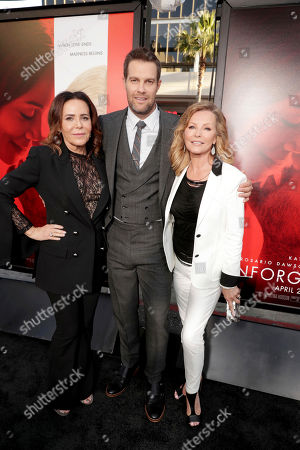 """Director/Producer Denise Di Novi, Geoff Stults and Cheryl Ladd seen at Los Angeles World Premiere of Warner Bros. Pictures' """"Unforgettable"""" at TCL Chinese Theatre, in Los Angeles"""